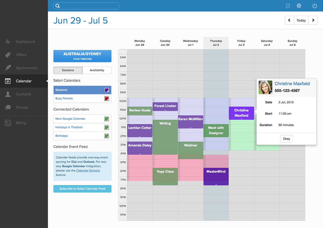 Session calendar screenshot